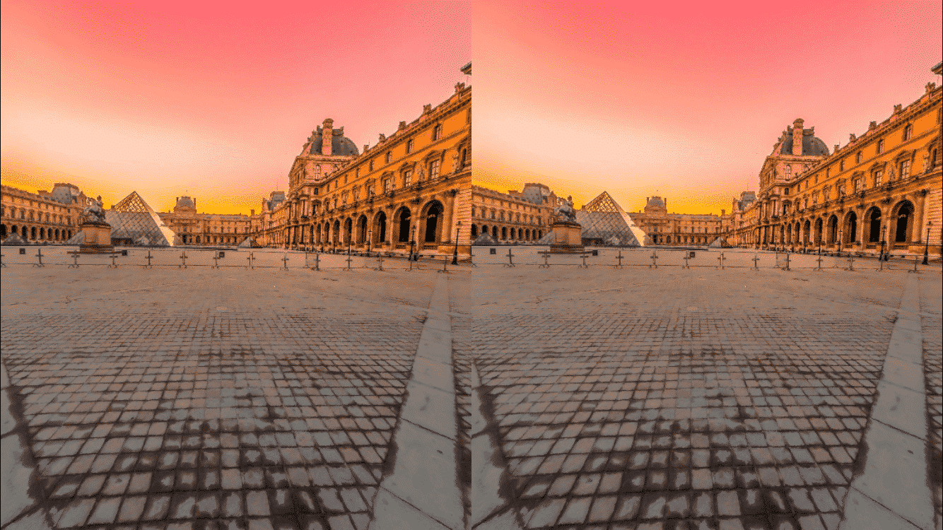 Louvre at Sunrise with Virtual Reality