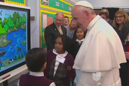 A Smartboard demonstration for Pope Francis