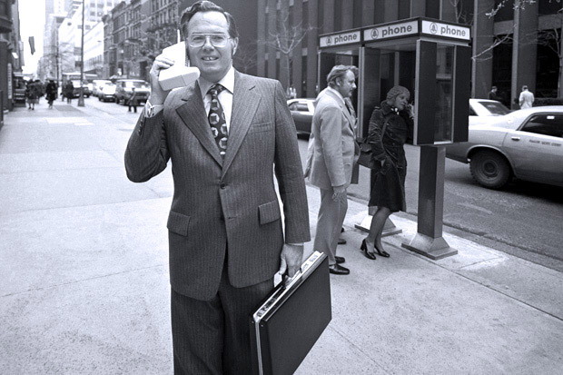 Motorola Vice President and Chief Engineer, John F. Mitchell shows off the DynaTAC portable radio telephone in New York City in 1973.