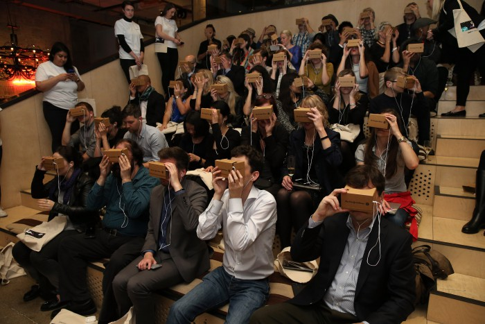 The NY Times Google Cardboard project - not quite Wearables but it was VR on your face