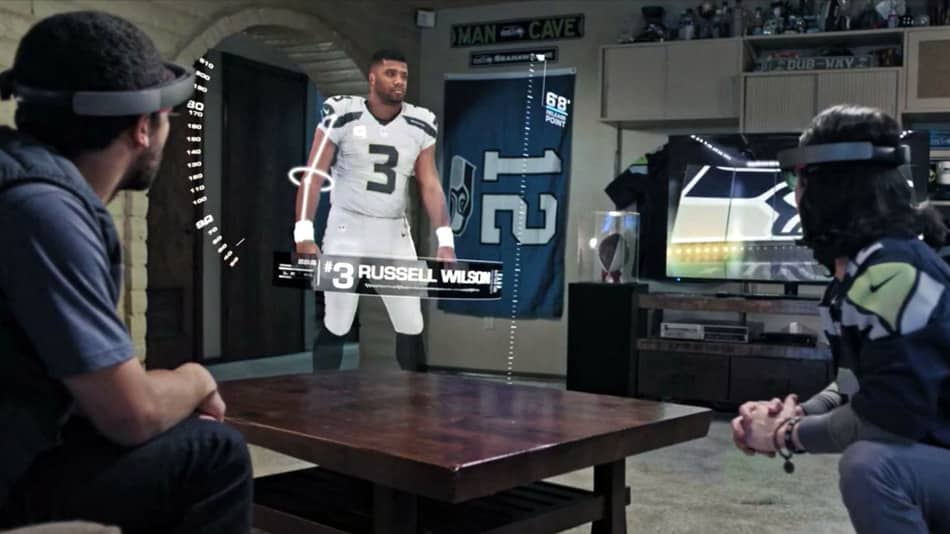 HoloLens AR Super Bowl of the Future - the players in your living room