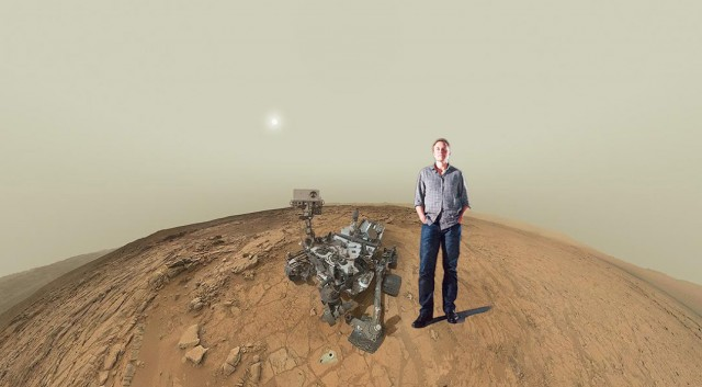Elon Musk on Mars with Curiosity Self-portrait
