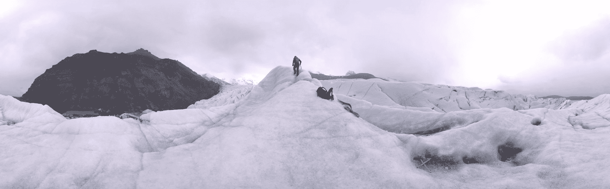 VR and Cinema - example scene of climber on Icelandic glacier