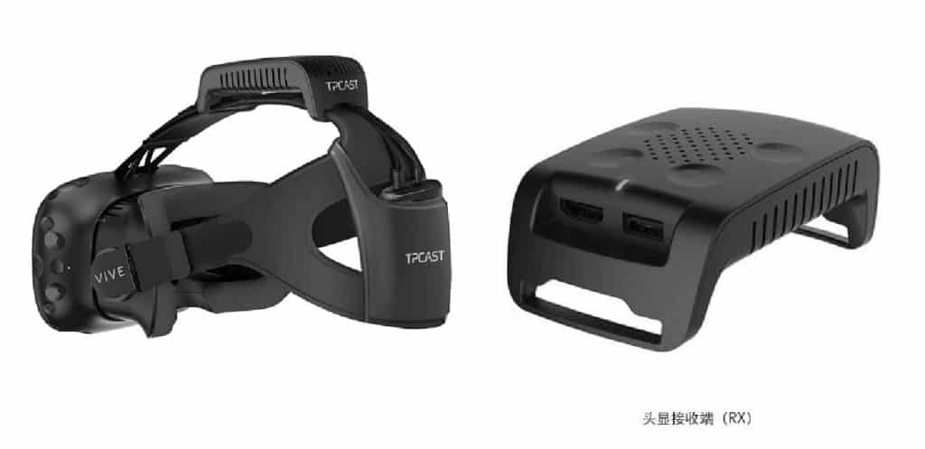 HTC Vive with Wireless addon by TPCAST that fits on top of the headstrap