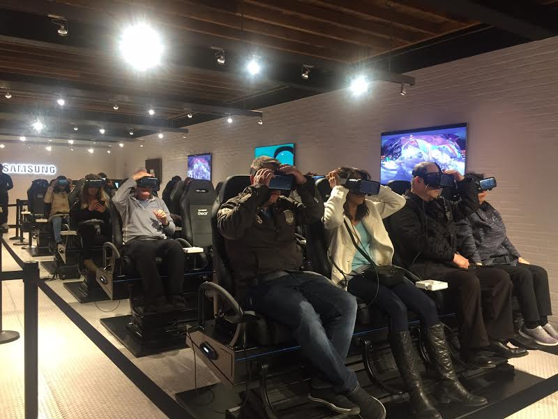 Getting ready for Samsung's VR rollercoaster ride using the new Gear VR and Galaxy S8