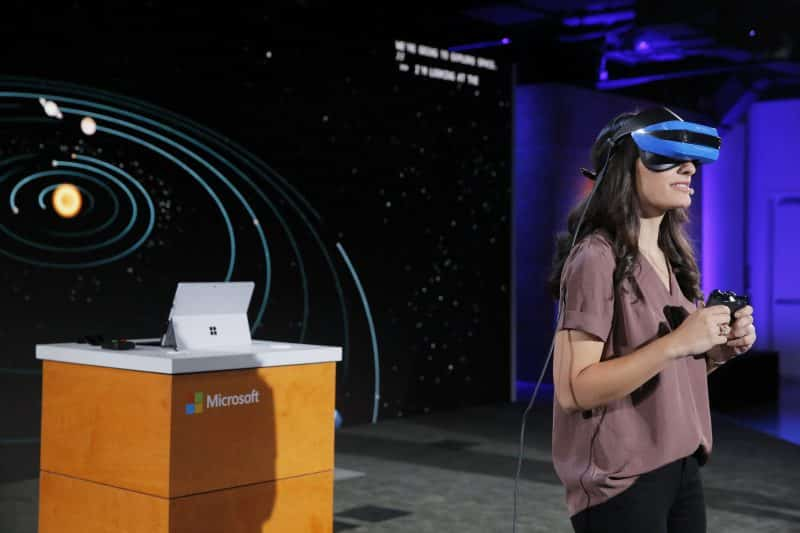 Microsoft's new VR headset with the view mixed reality feature.