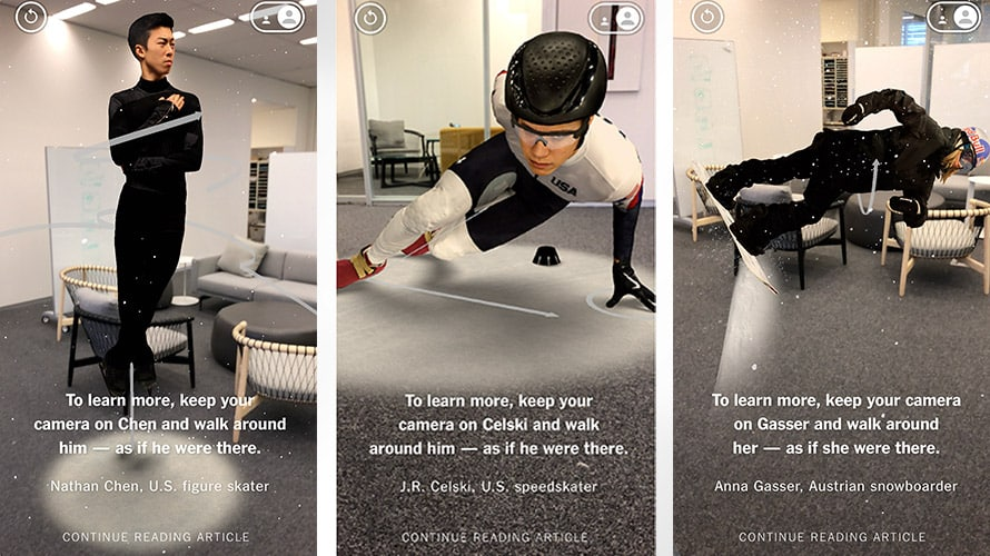 New York Times AR app for iOS on the Olympic Athletes
