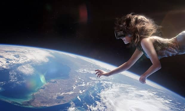 Astronaut in virtual reality - virtual space tourism