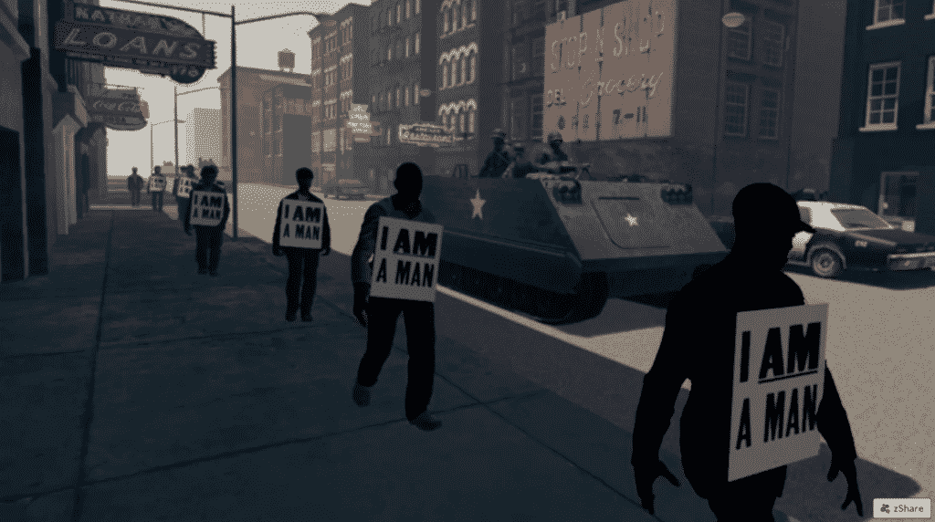 A scene from the I am a Man VR Experience