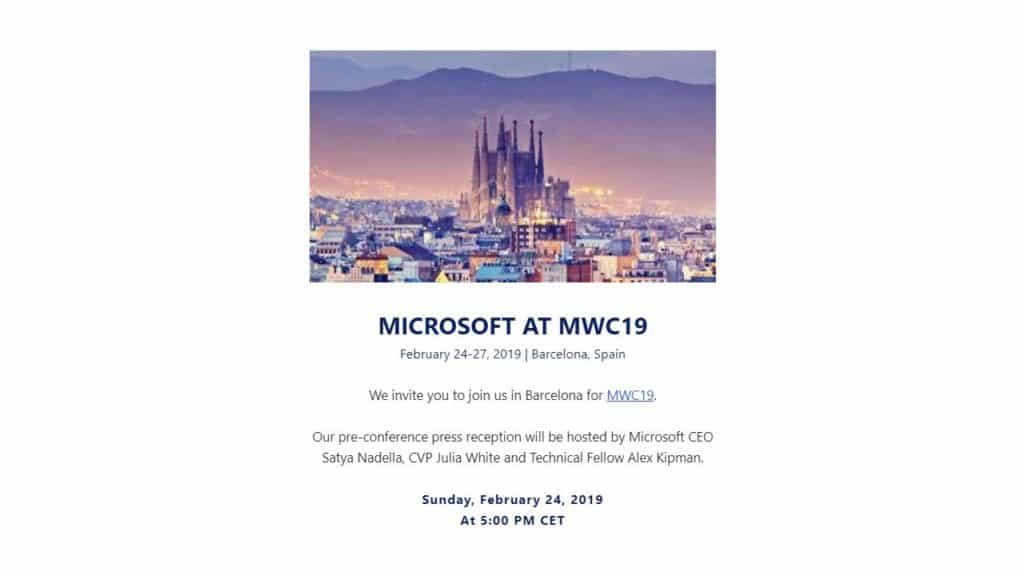 Microsoft MWC Invite that suggests that HoloLens 2 may arrive
