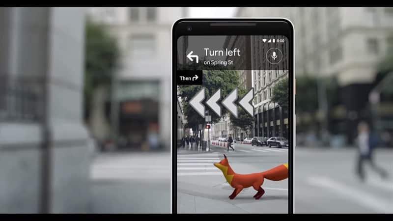 AR Google Maps Guiding Fox