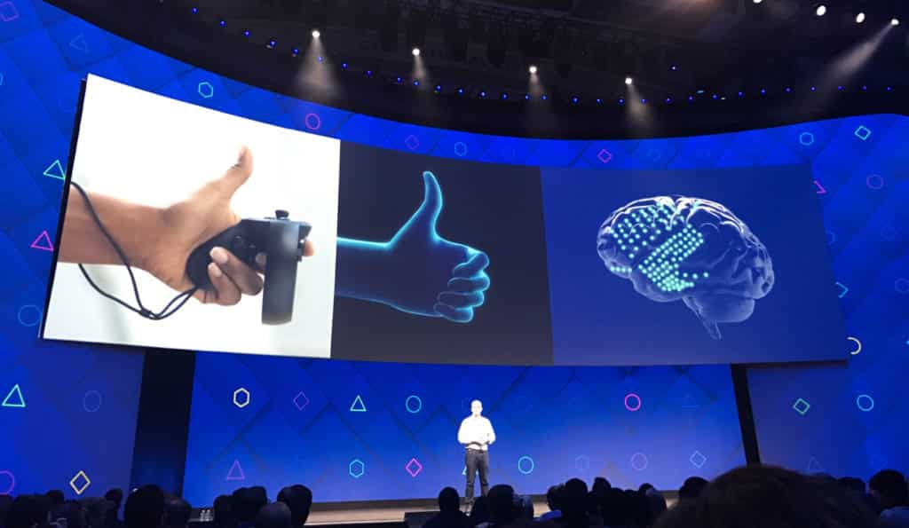 Facebook's noninvasive brain-computer interface work was first announced at F8 in 2017.