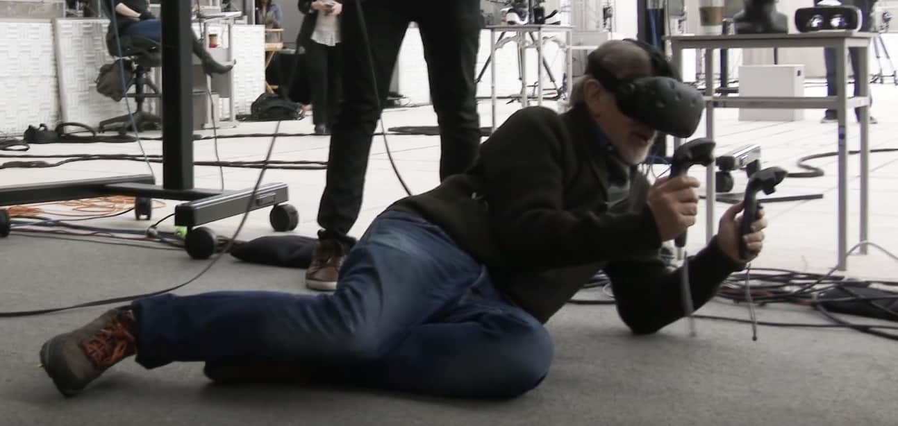 Steven Spielberg using the HTC Vive VR headset during the filming of Ready Player One