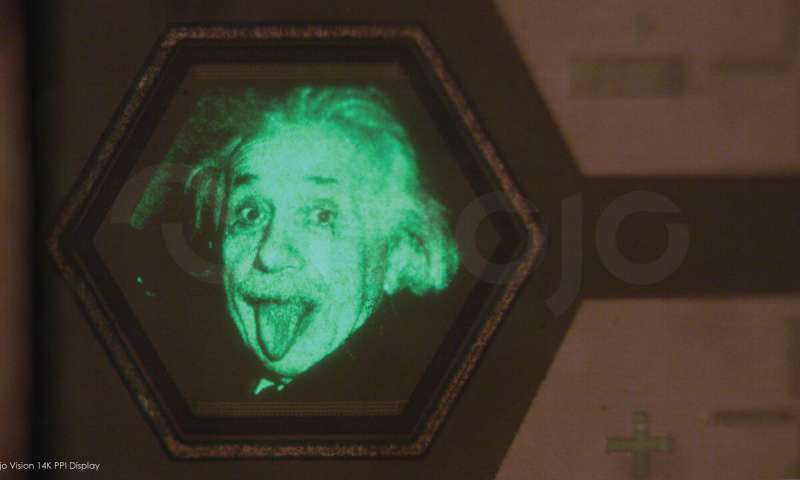 The face of Einstein in Mojo Vision's AR contact lenses display