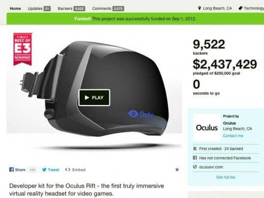 oculus rift kickstarter page - modern VR took off.