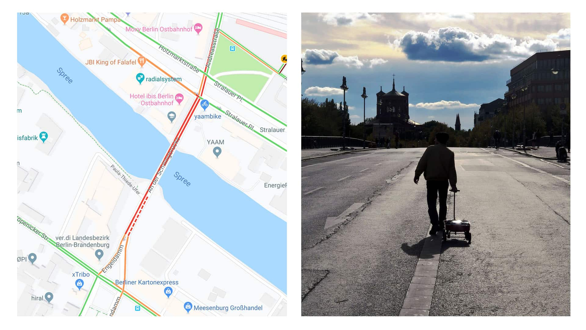 Google Maps displays a traffic jam from artist's project with smartphones.