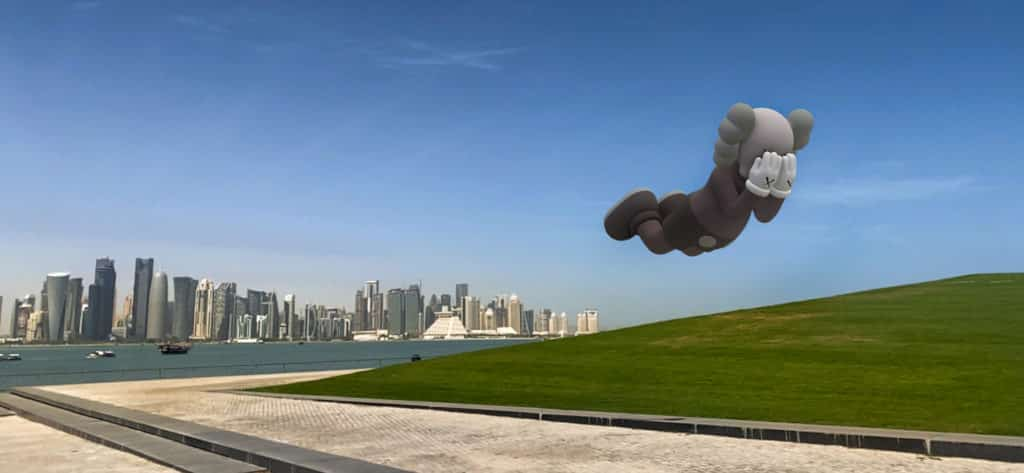 KAWS's AR art in Doha (MIA Park – Museum of Islamic Art), Qatar.