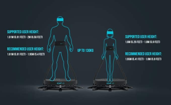 The kat Walk C VR Treadmill comes in two sizes for different body types.