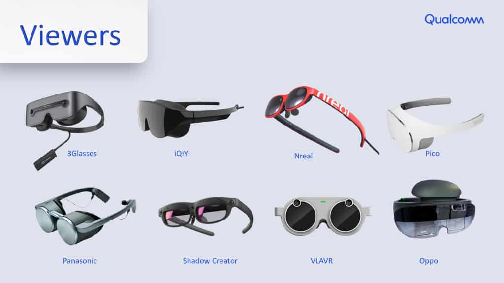 XR Glasses and viewers that are already compatible with Qualcomm's standards.