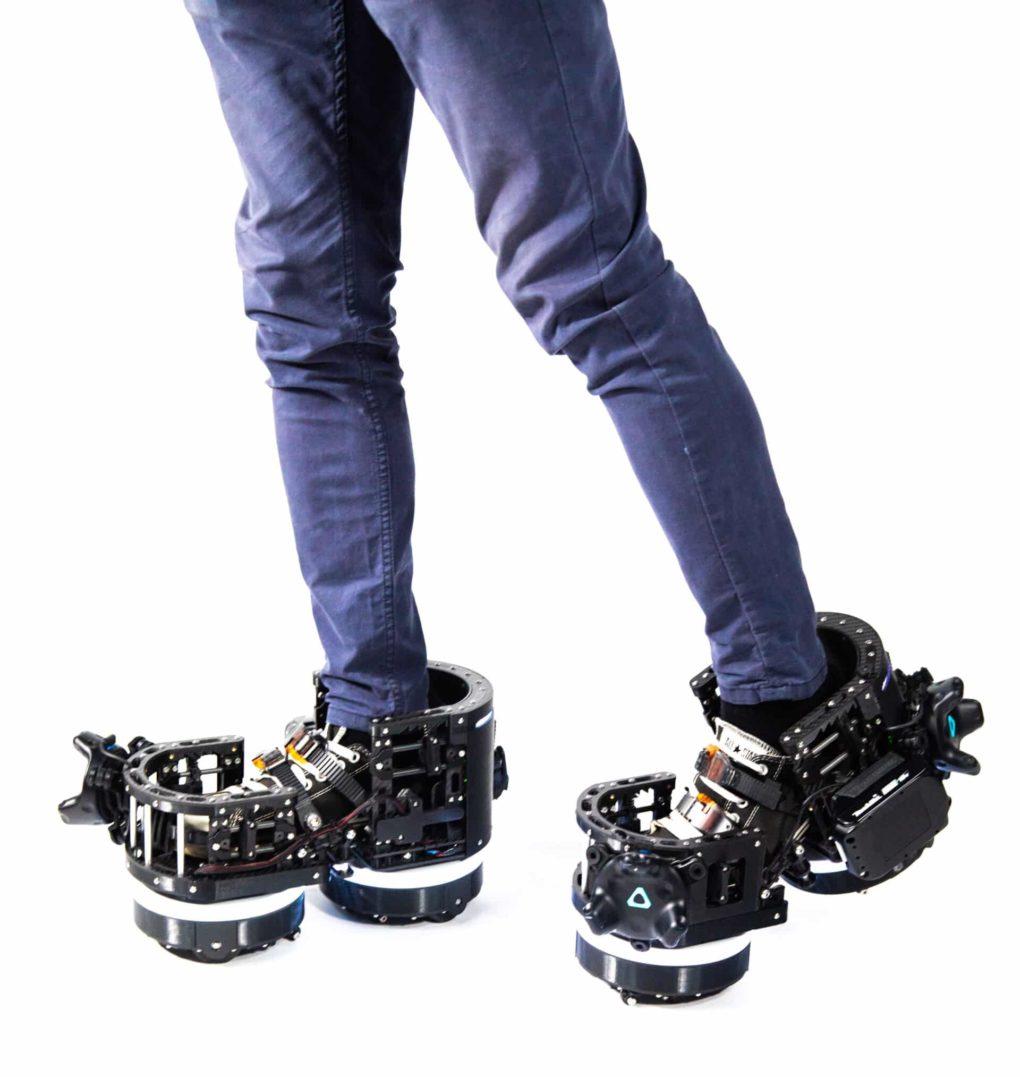 Ekto VR boots, a bulky prototype for the future.