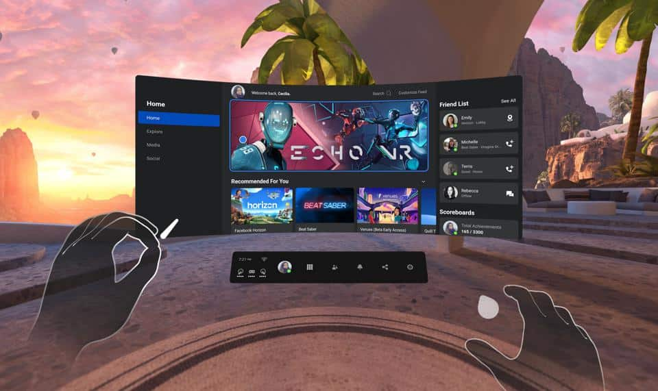 The main menu in the Oculus Quest 2, showing off how controller-free hand tracking works.