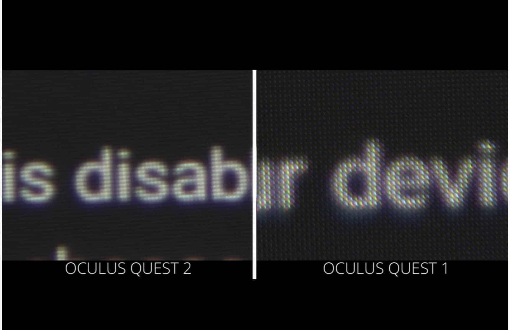 Comparison of the displays in the Oculus Quest 1 and Quest 2.