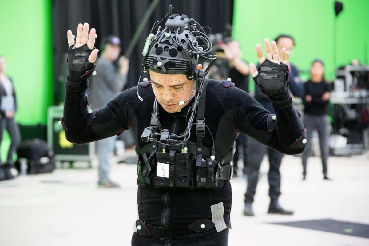 Luis, a lawyer, rehearses in a motion capture suit during the creation of CARNE y ARENA. Photo by Chachi Ramirez.