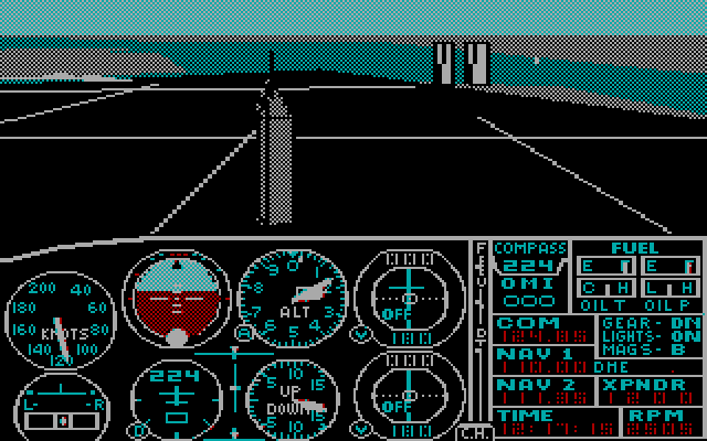 Microsoft Flight Simulator 2.10 for IBM PC (RGB monitor, in front of Empire State Building), 1984.