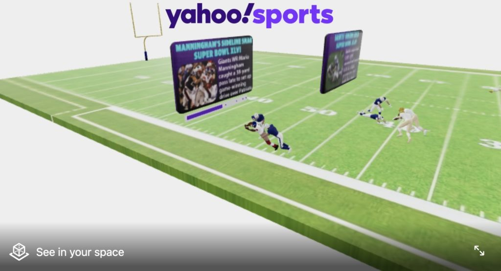 famous plays in past Super Bowls in Augmented Reality