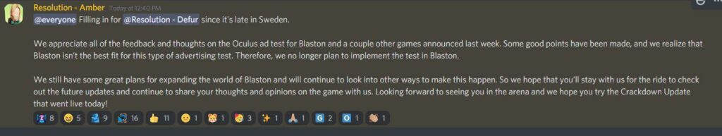 Blaston VR game cancels participation in Facebook's test of advertising in VR.