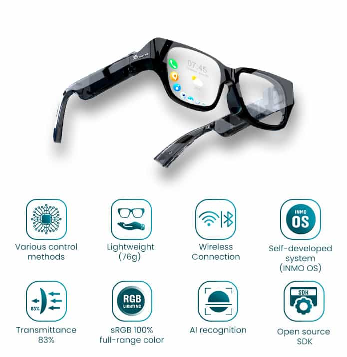 specs and features of the new AR Glasses on Indiegogo.